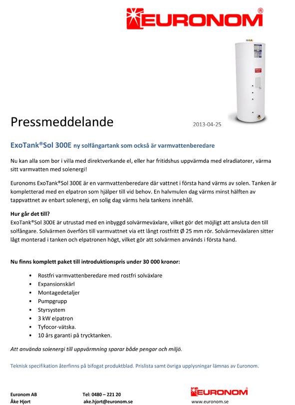 Pressmeddelande_ExoTank Sol 300E